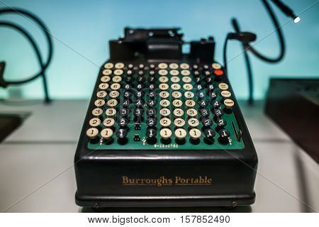 Milan, Italy - June 9, 2016: Retro Typewriter At The Science And Technology Museum Leonardo Da Vinci