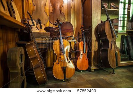 Milan, Italy - June 9, 2016: Antique Violins At The Science And Technology Museum Leonardo Da Vinci