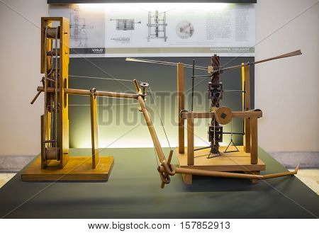 MILAN ITALY - JUNE 9 2016: wing-beating device with a screw and lead system models of Leonardo da Vinci's scientific studies displayed at the Science and Technology Museum Leonardo da Vinci