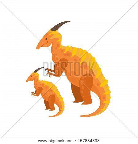 Parasaurolophus Dinosaur Prehistoric Monster Couple Of Similar Specimen Big And Small Cartoon Vector Illustration. Part Of Jurassic Reptiles Species Collection Of Childish Drawings.