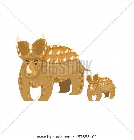 Brown Triceratops Dinosaur Prehistoric Monster Couple Of Similar Specimen Big And Small Cartoon Vector Illustration. Part Of Jurassic Reptiles Species Collection Of Childish Drawings.