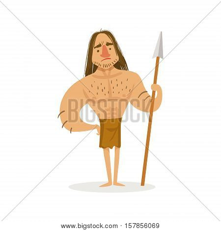 Tall Muscly Warrior With A Spear Wearing Loincloth Cartoon Illustration Of First Homo Sapiens Troglodyte In Animal Pelt Living In Stone Age. Part Of Prehistoric Neanderthal Caveman And Their Historical Surroundings Collection Of Vector Drawings.