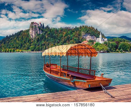 Lake Bled (Blejsko jezero) is a glacial lake in the Julian Alps in northwestern Slovenia where it adjoins the town of Bled and is overlooked by Bled Castle. Instagram toning.