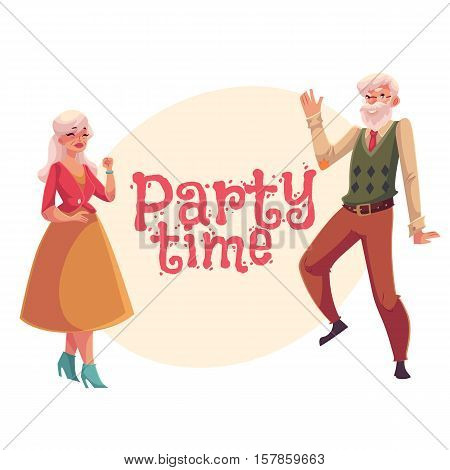 Old, senior man and woman dancing, cartoon style invitation, banner, poster, greeting card design. Senior dance party invitation, advertisement, poster template with old lady and gentleman dancing