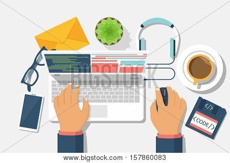 Developer web concept. Programmer write code for laptop. Software coding programming languages testing debugging web site. Search engine. Desktop web designer. Vector illustration flat design.