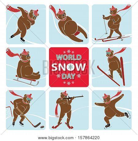 World snow day.Cartoon brown bear plays a winter sport.Sprint, Luge, skis, sledges, ice hockey, ski jumping, figure skating and biathlon. Screensavers, icons. Vector humorous illustration.Anmal set
