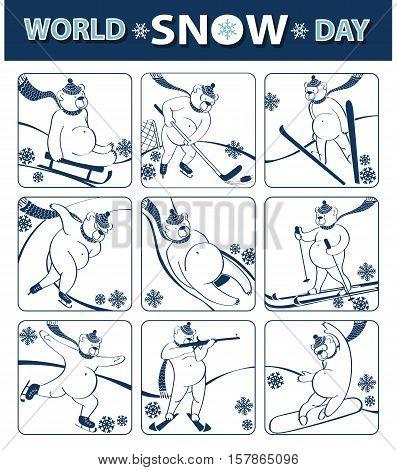 World snow day.Cartoon brown bear plays a winter sport.Flat icons.Sprint, Luge, skis, sledges, ice hockey, ski jumping, figure skating and biathlon. Screensavers, icons.Vector humorous illustration.Animal set