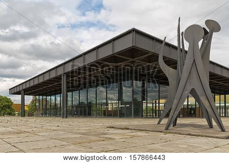 BERLIN GERMANY - JULY 2015: Neue Nationalgalerie also known as New National Gallery in Berlin. Exterior view of the museum designed by architect Ludwig Mies van der Rohe in 1968