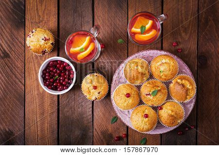 Tasty Muffin (cupcake) With Cranberries And Cranberry-orange Drink. Top View