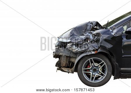 Front Of Black Car Get Damaged By Accident On The Road. Isolated On White. Saved With Clipping Path