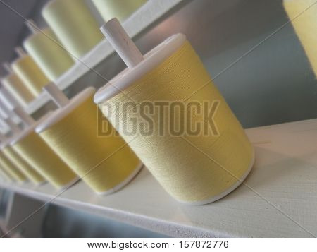 Yellow bobbin storage, Shooting the picture tilt style.