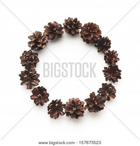 Circle Framed Compositon Made Of Pine Cones, Flat Lay