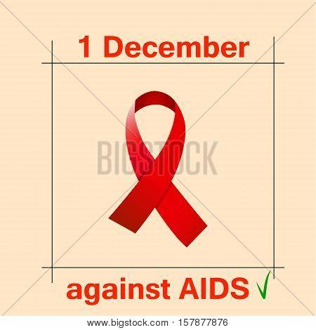 Awareness red ribbon aids hiv vector illustration