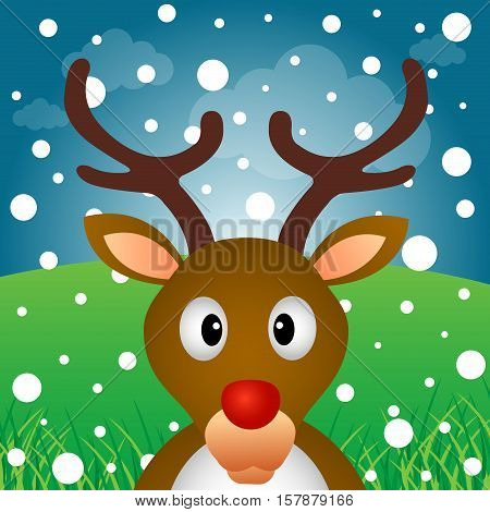 A reindeer and snow in the forest