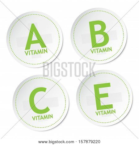 Vitamin A, B, C and E on stickers