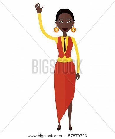 African American business woman waving her hand flat cartoon vector illustration.