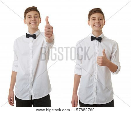 Set of cute teenager boy in white shirt and black bow tie showing thumb up sign over white isolated background, half body