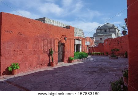 Colorful Walls Inside Of Monastery Of St. Catherine At Arequipa, Peru