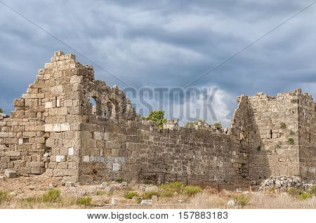 Part of the ancient city wall ruins that surround the town of Side in Turkey.