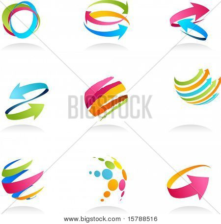 Abstract ribbons and arrows icons collection