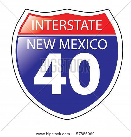 Layered artwork of New Mexico I-40 Interstate Sign
