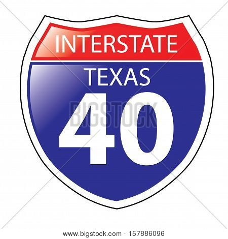 Layered artwork of Texas I-40 Interstate Sign