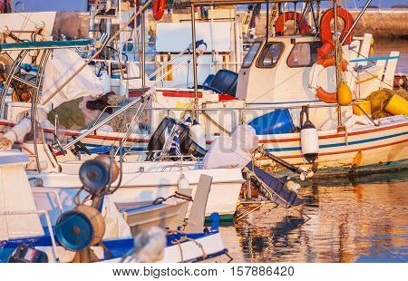 Boats In Small Harbor, Corfu, Greece