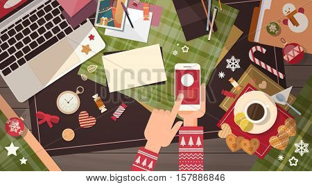 Hands Hold Device Electronics Gadget New Year Concept Laptop Phone Tablet Christmas Gift Decoration Flat Vector Illustration