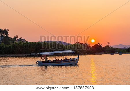 Sunset Scene With Boat, Corfu