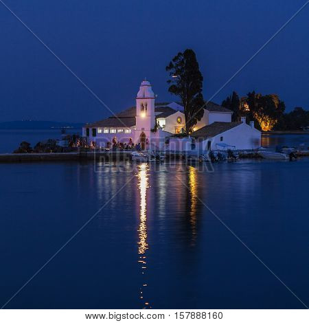 Night Scene Of Vlacherna Monastery, Corfu