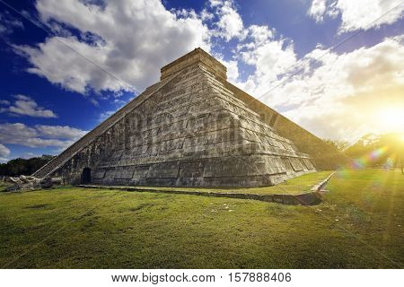 Kukulkan Pyramid in Chichen Itza on the Yucatan Mexico