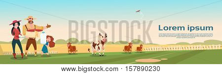 Farmers Family Cows Fresh Milk Dairy Products Eco Farming Banner Flat Vector Illustration