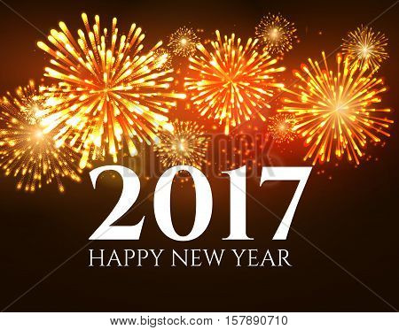 2017 new year background banner abstract firework poster. Xmas greeting wallpaper. Holiday christmas celebration card with firework.
