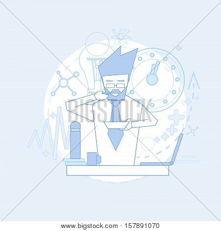 Office Worker Business Man Eat On Coffee Break, Sitting Workplace Day Routine Vector Illustration