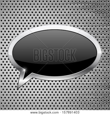 Black dialog bubble icon on metal perforated background. Vector illustration isolated on white background
