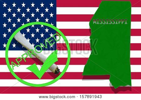 Mississippi on cannabis background. Drug policy. Legalization of marijuana on USA flag,