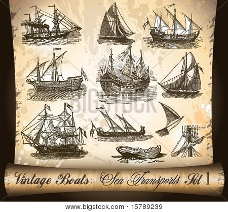 Vintage Transport: Ship,Boats and Vessels with an antique parchment background