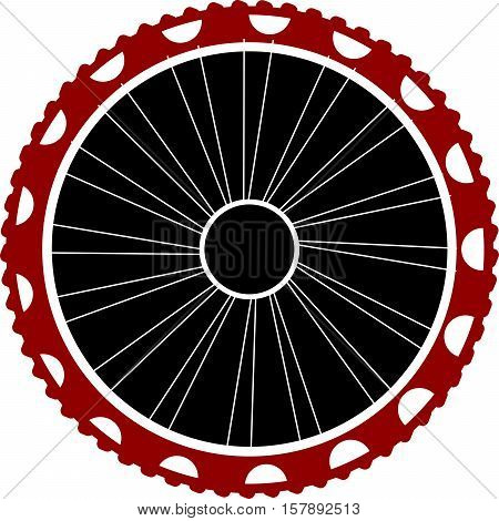 Bicycle wheel isolated on white, flat button