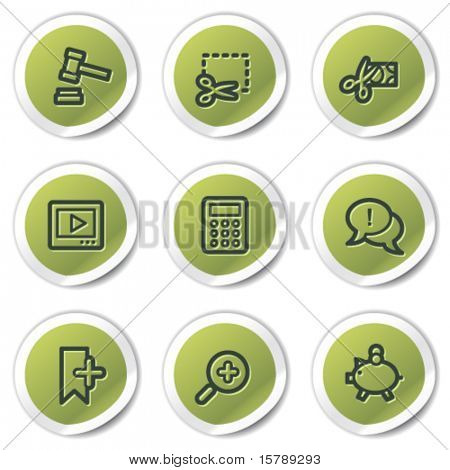 Shopping web icons set 3, green circle stickers
