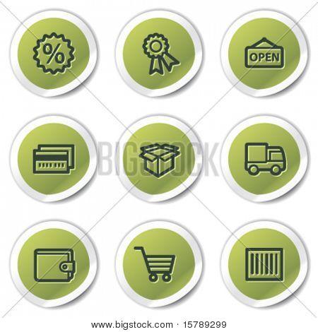 Shopping web icons set 2, green circle stickers
