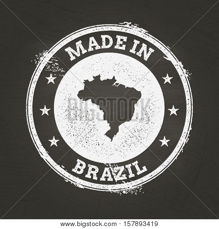 White Chalk Texture Made In Stamp With Federative Republic Of Brazil Map On A School Blackboard. Gru