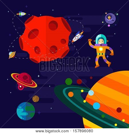 Vector flat space elements with spaceship ufo and planets.