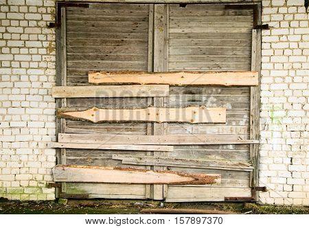 Brown Door In The Wall