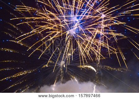 Colorful Fireworks On The Sky Background
