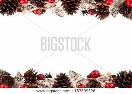 Christmas Double Border With Rustic Wood Tree Ornaments, Baubles And Pine Cones Isolated On A White