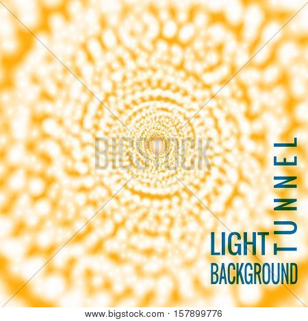 Vector light tunnel. Abstract background with glowing lights. Design element for celebration, electronic music