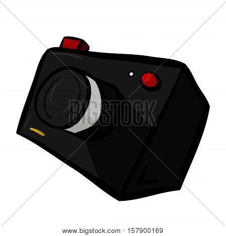 Illustration of a camera in cartoon style. Take a photo take a picture. Vector illustration on white background.