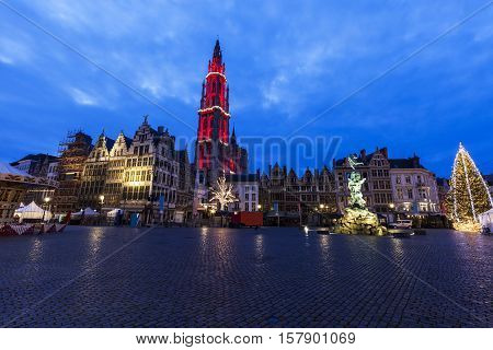 Christmas on Grote Markt in Antwerp. Antwerp Flemish Region Belgium.