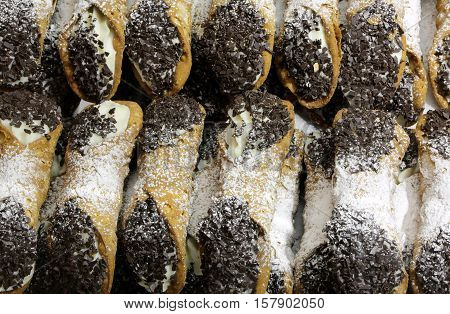 Sicilian Cannoli With Sweet Custard Chocolate Chips And Coconut