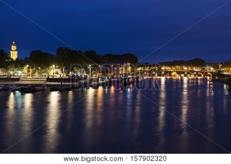 Panorama of Angers at night. Angers Pays de la Loire France.